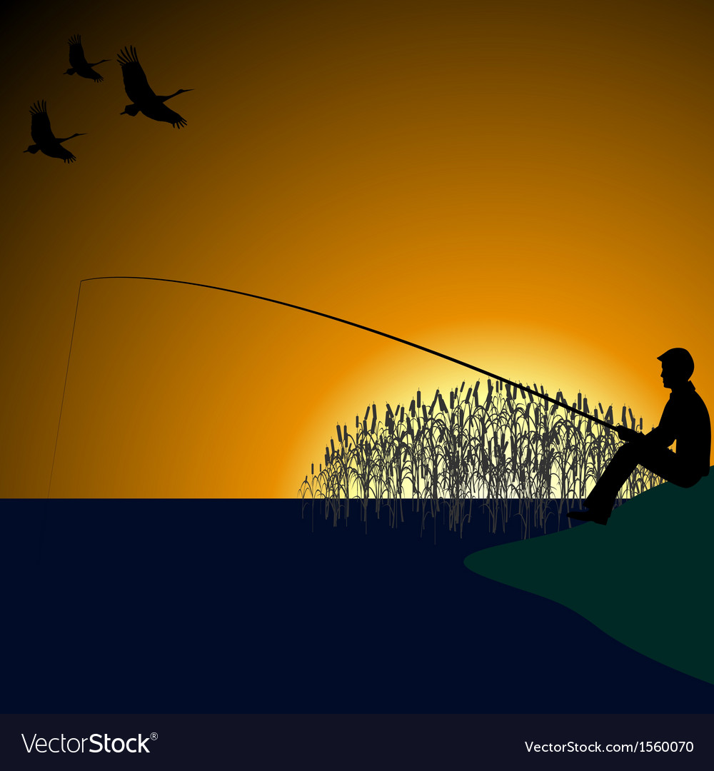A fisherman on the lake-1 vector | Price: 1 Credit (USD $1)