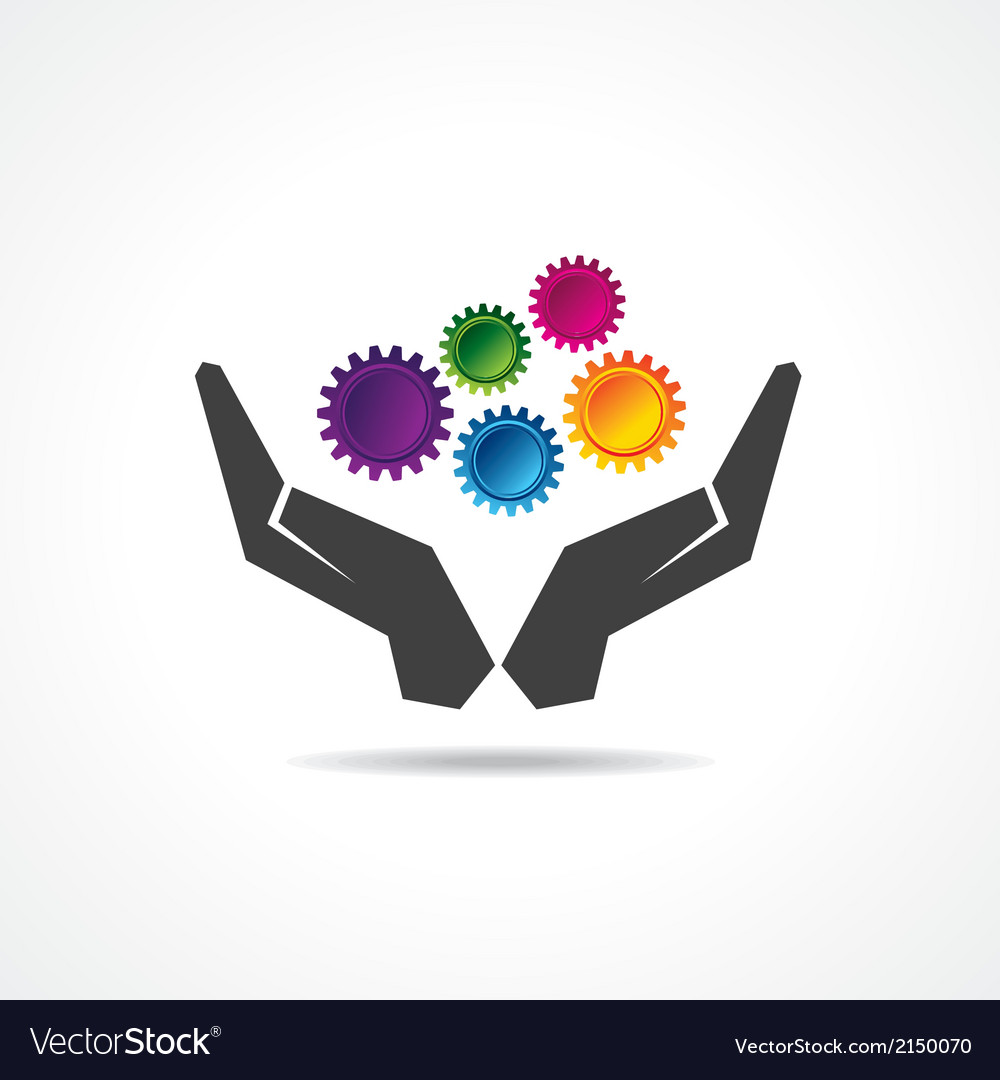 Colorful gears in hand vector | Price: 1 Credit (USD $1)