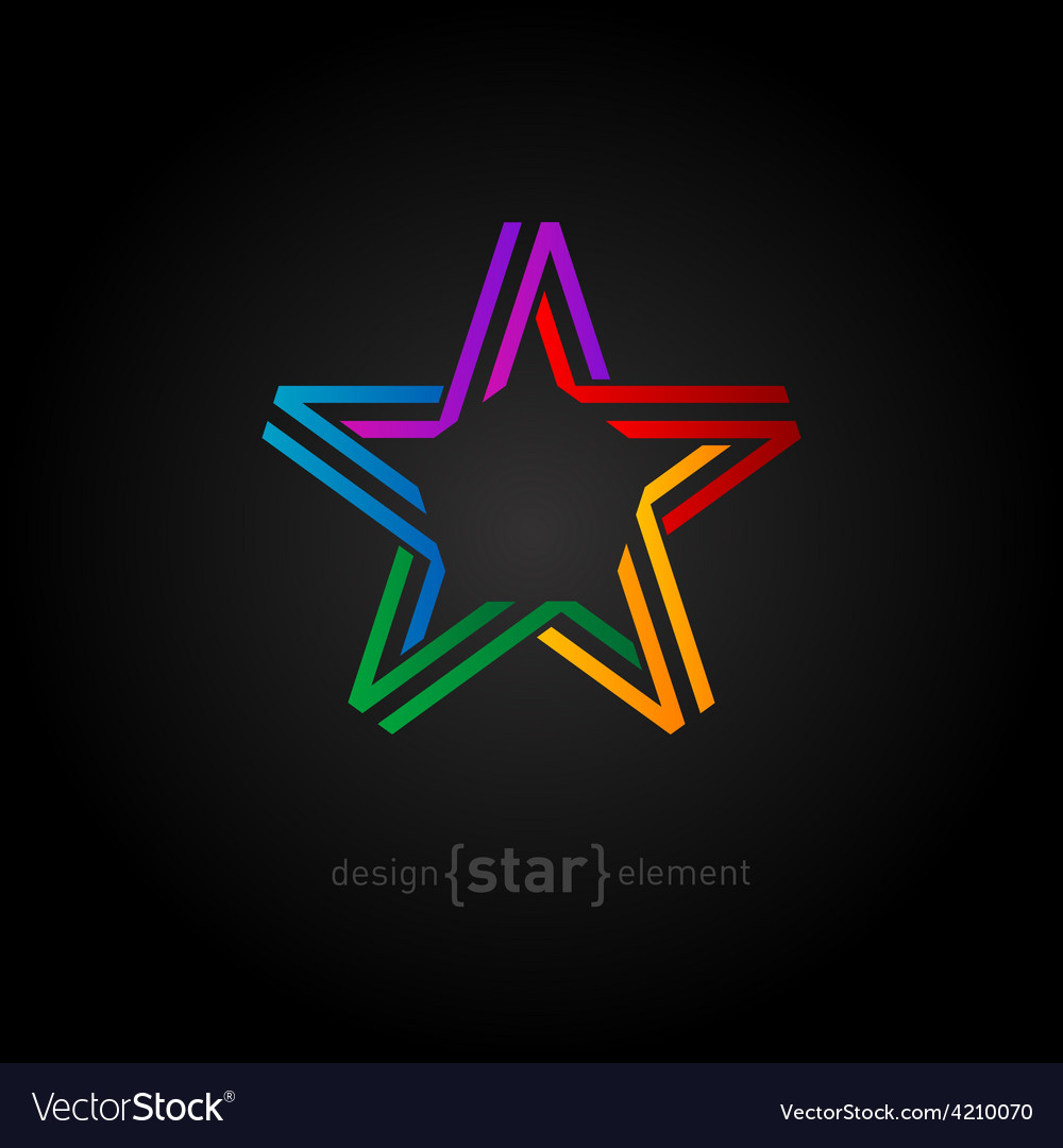 Colorful star from ribbon on black background vector | Price: 1 Credit (USD $1)