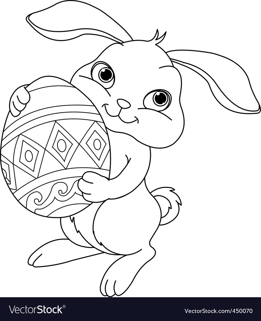 Easter bunny coloring page vector | Price: 1 Credit (USD $1)