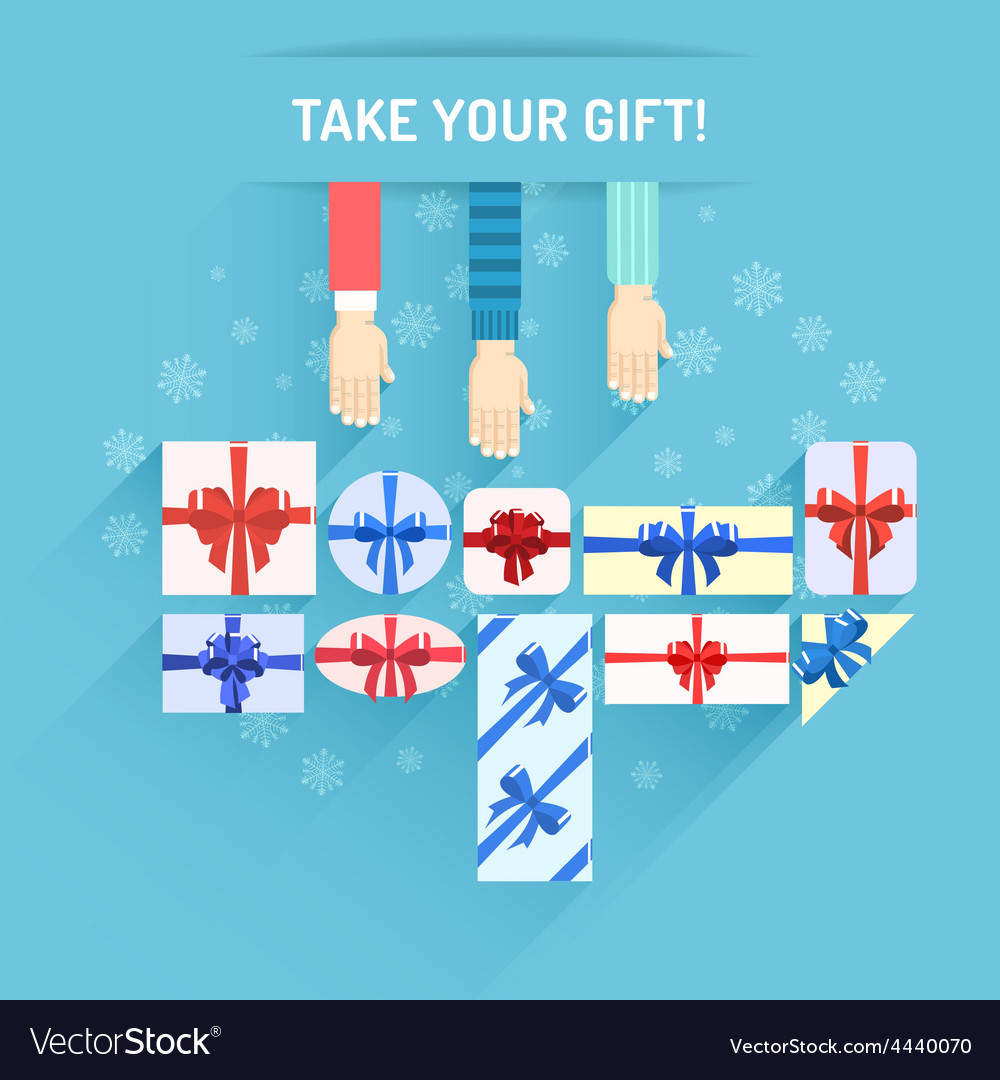 Gifts boxes with hands vector | Price: 1 Credit (USD $1)