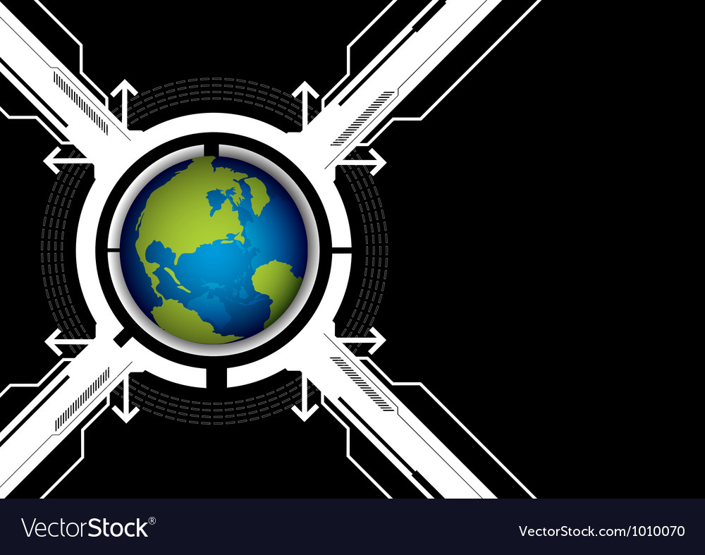 Globe and technology background vector | Price: 1 Credit (USD $1)
