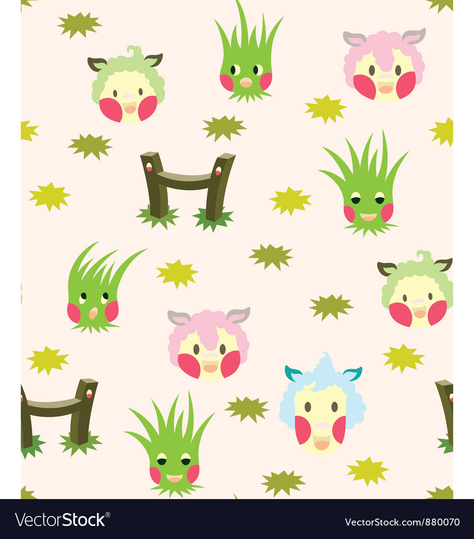 Lamb and grass story pattern vector | Price: 1 Credit (USD $1)