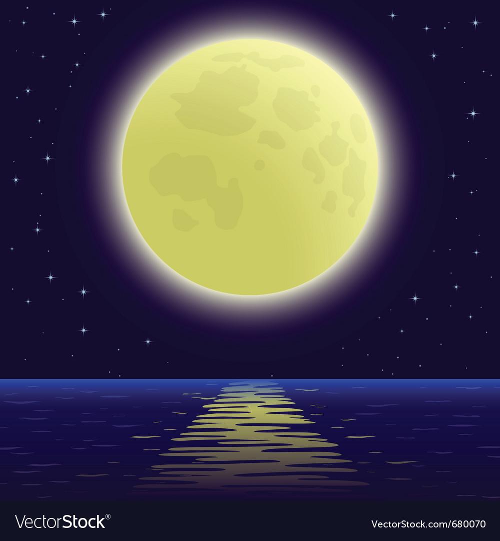 Moon over sea vector | Price: 3 Credit (USD $3)