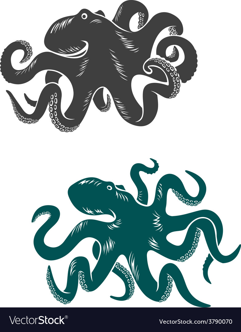 Octopus with waving tentacles vector | Price: 1 Credit (USD $1)