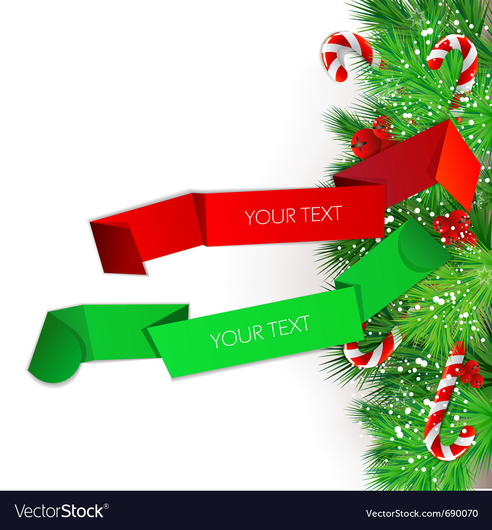 Origami paper banners christmas design vector | Price: 3 Credit (USD $3)