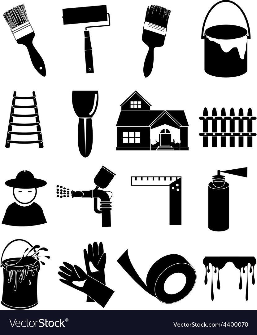Paint worker icons set vector | Price: 1 Credit (USD $1)