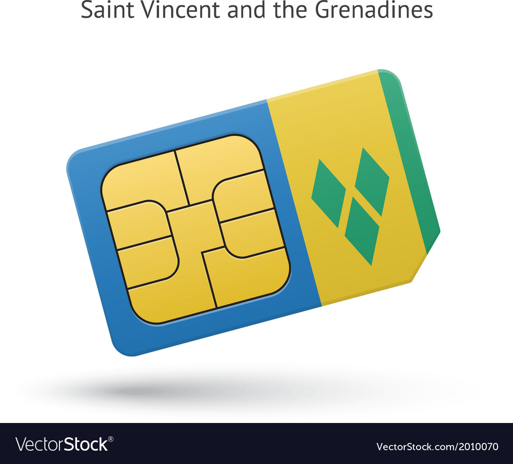 Saint vincent and the grenadines phone sim card vector | Price: 1 Credit (USD $1)