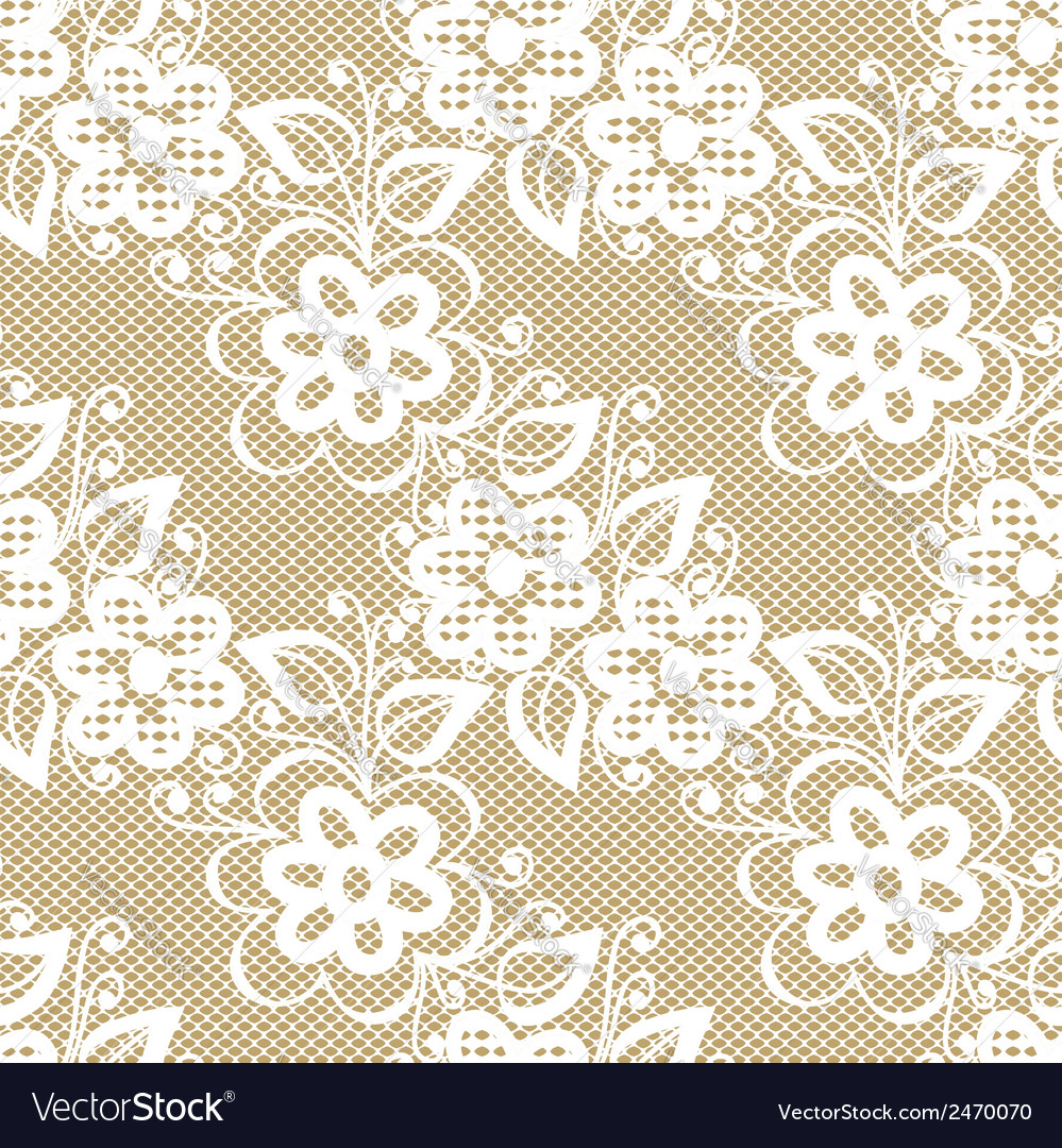 Seamless white lace on beige background vector | Price: 1 Credit (USD $1)