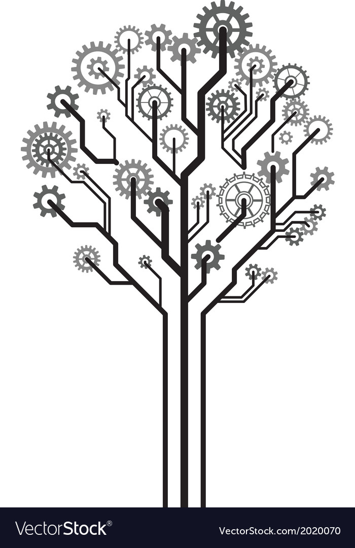 Tree of gears vector | Price: 1 Credit (USD $1)