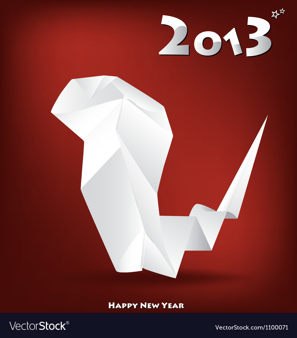 2013 new year greeting card with origami snake vector | Price: 1 Credit (USD $1)