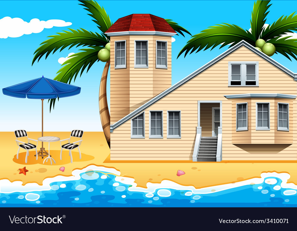 A vacation house at the beach vector | Price: 3 Credit (USD $3)