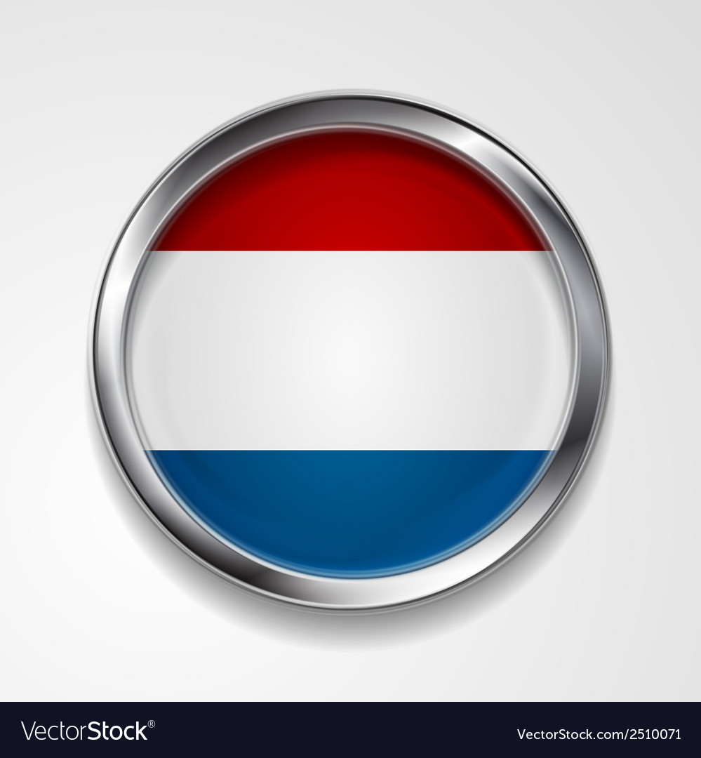 Abstract button with metallic frame netherlands vector | Price: 1 Credit (USD $1)
