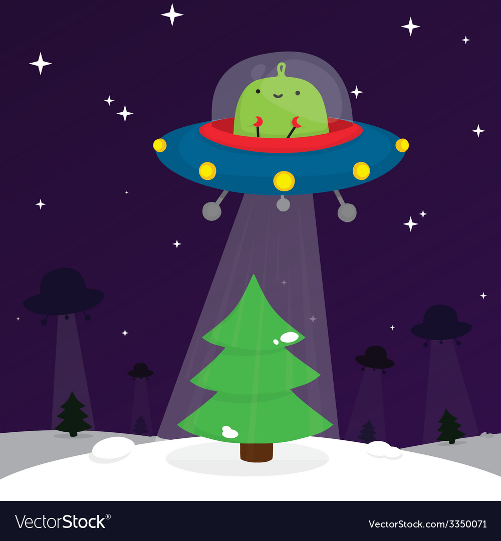 Alien and christmas tree vector | Price: 1 Credit (USD $1)