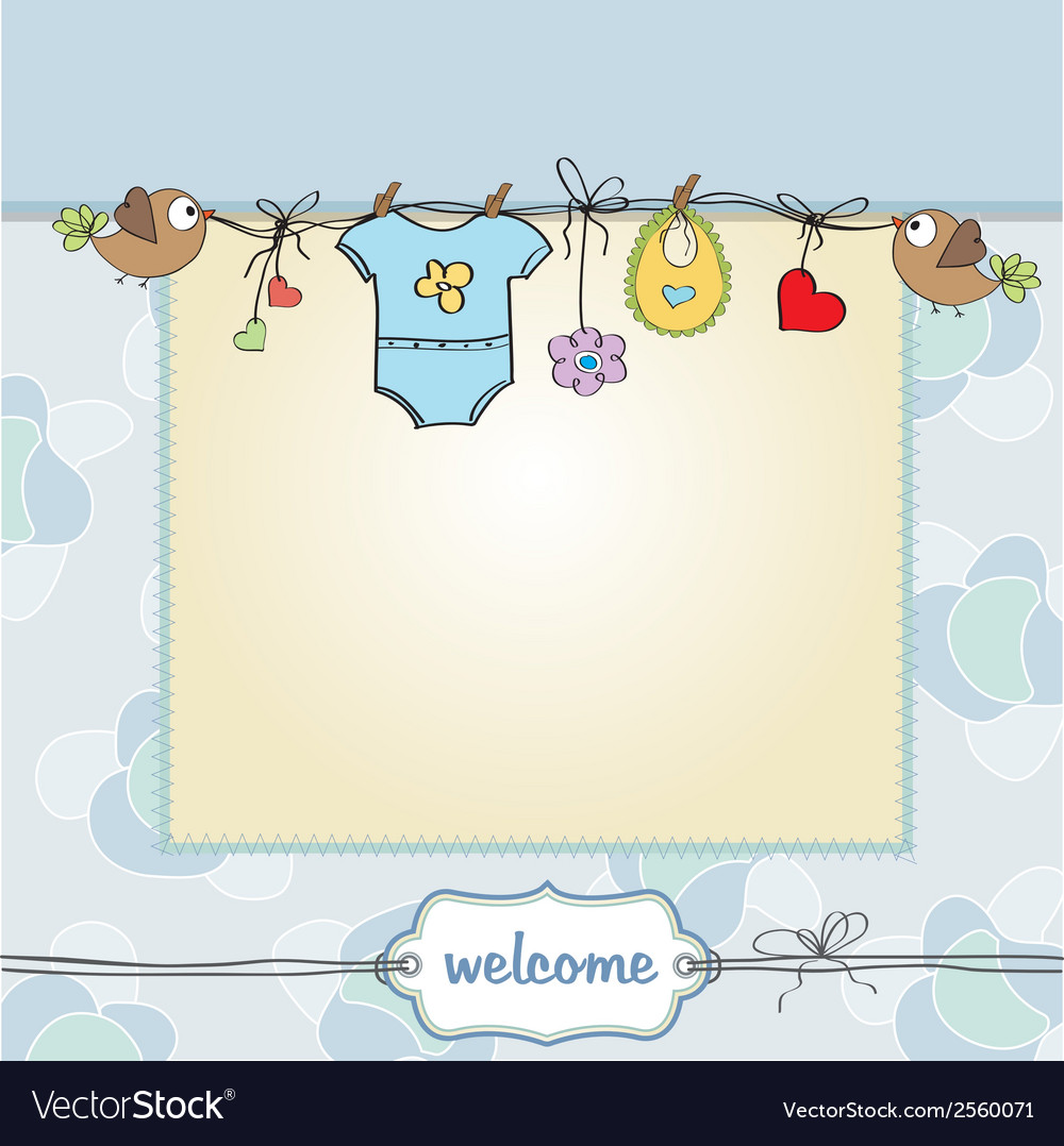 Baby boy shower card vector | Price: 1 Credit (USD $1)