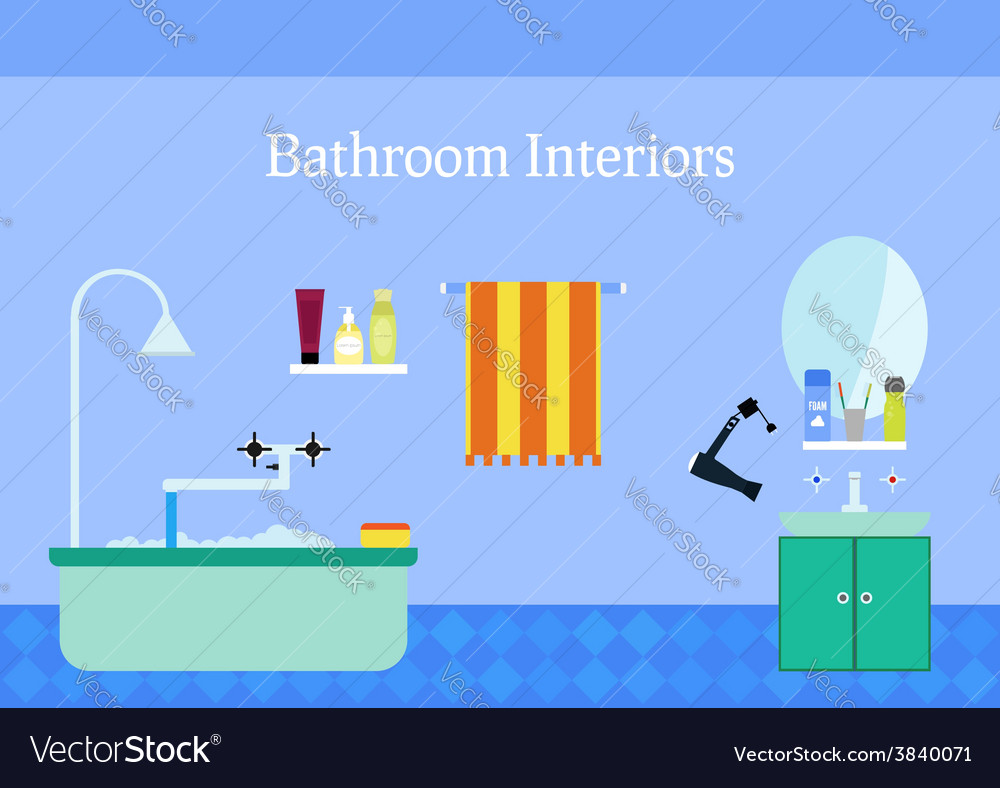 Bathroom interior with sink and mirror colorful vector | Price: 1 Credit (USD $1)