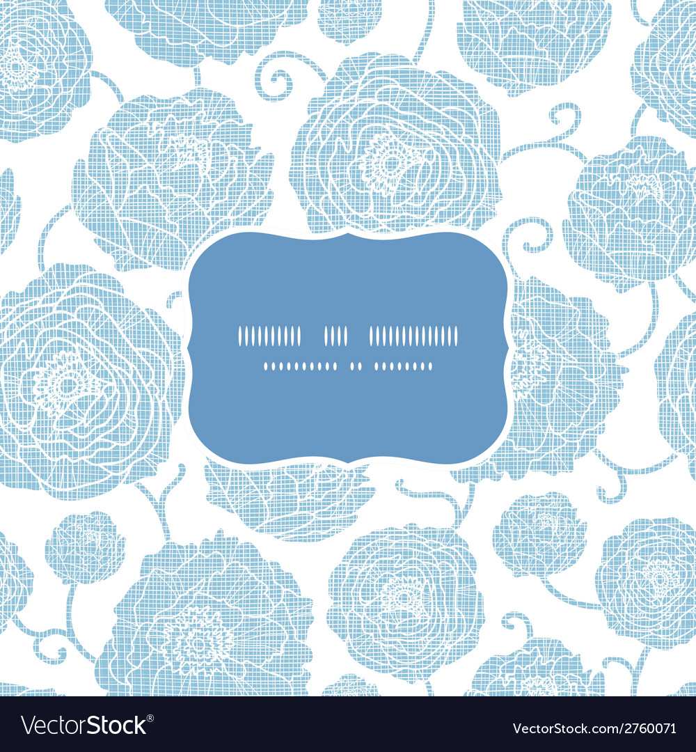 Blue textile peony flowers frame seamless pattern vector | Price: 1 Credit (USD $1)