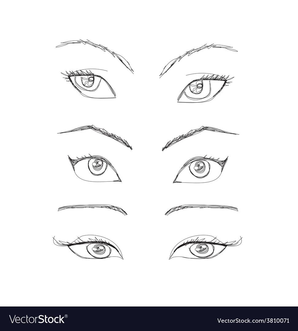 Cartoon eyes set vector   Price: 1 Credit (USD $1)