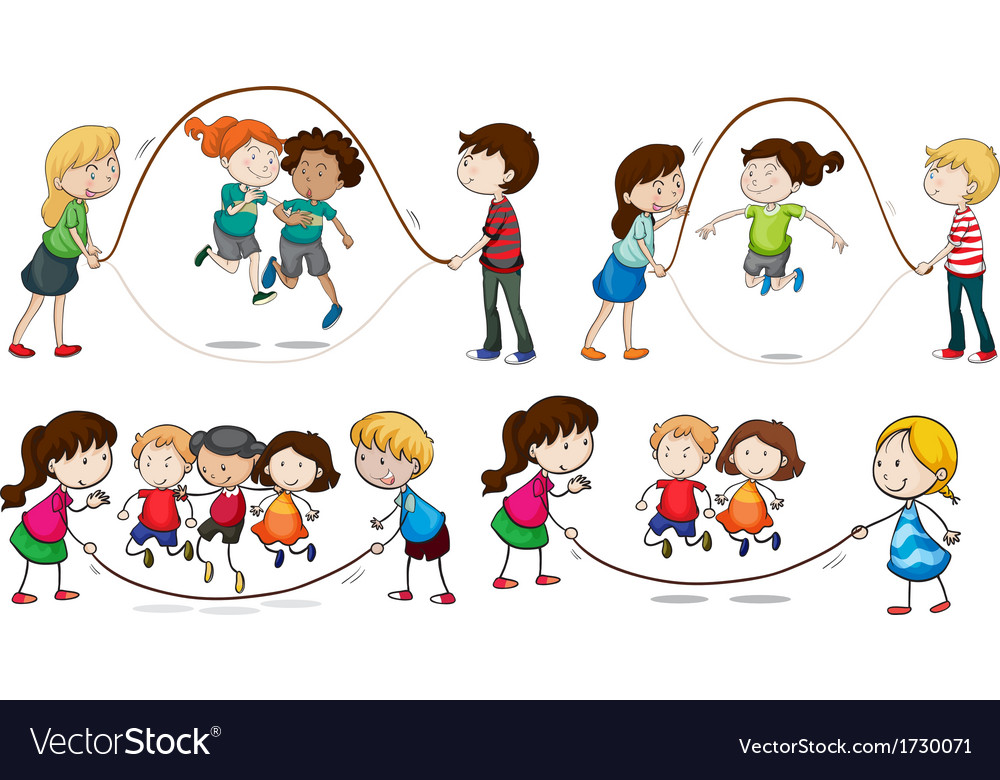 Children playing skipping rope vector   Price: 1 Credit (USD $1)