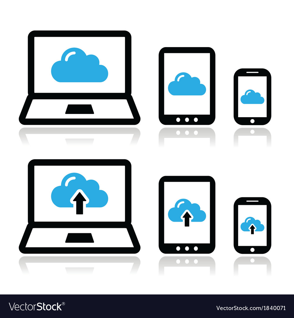 Cloud network on laptop tablet smartphone icons vector | Price: 1 Credit (USD $1)