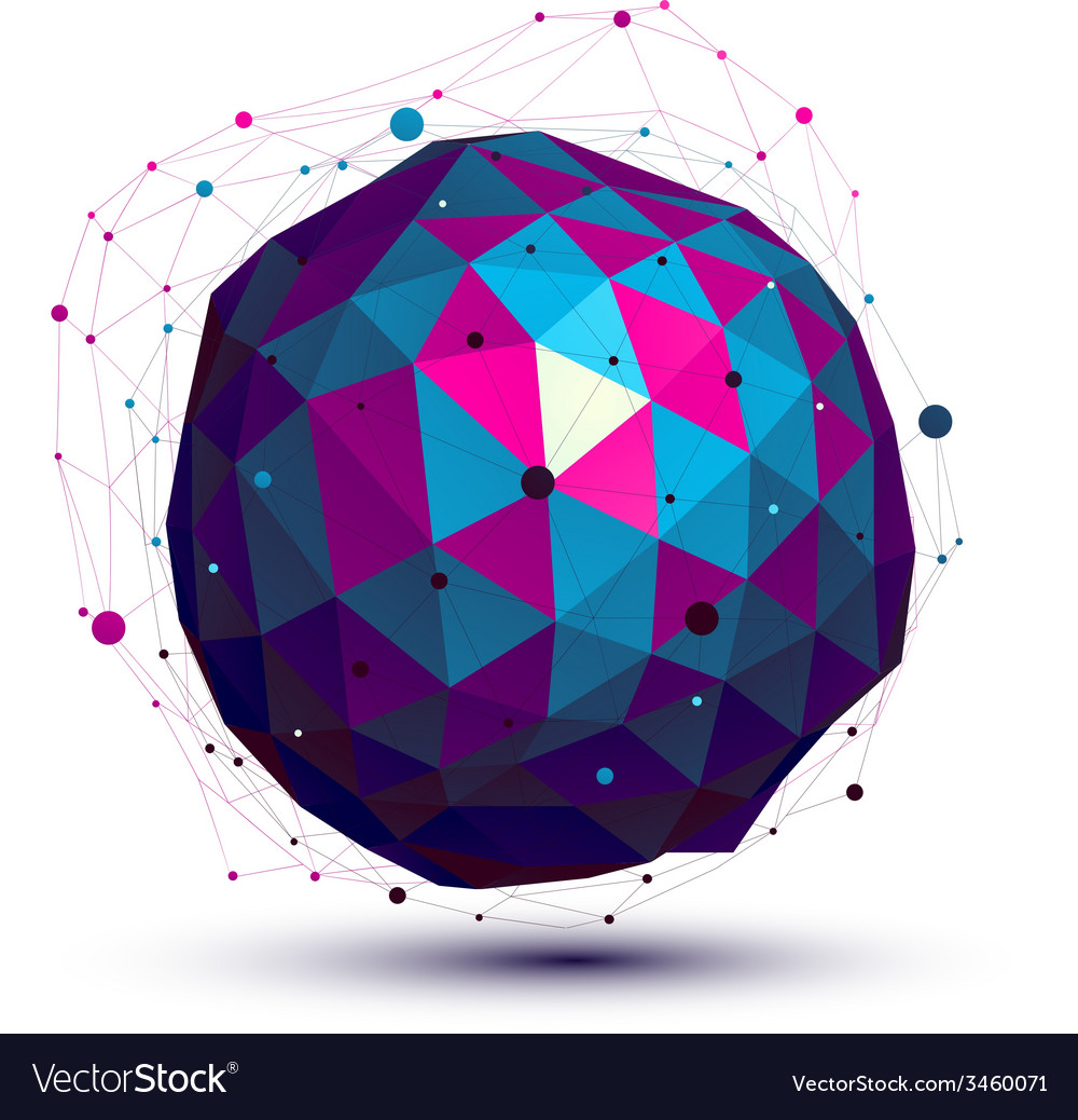 Geometric colorful figure with wire mesh spherical vector | Price: 1 Credit (USD $1)
