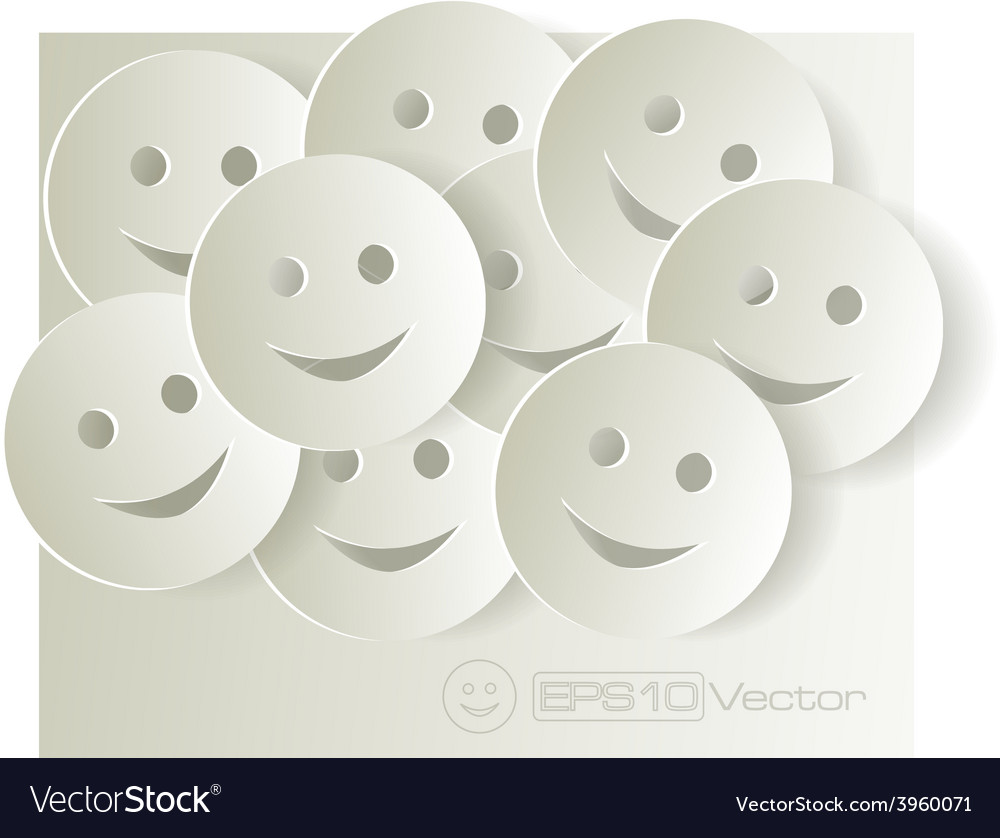 Paper cut out smiley faces on light background vector