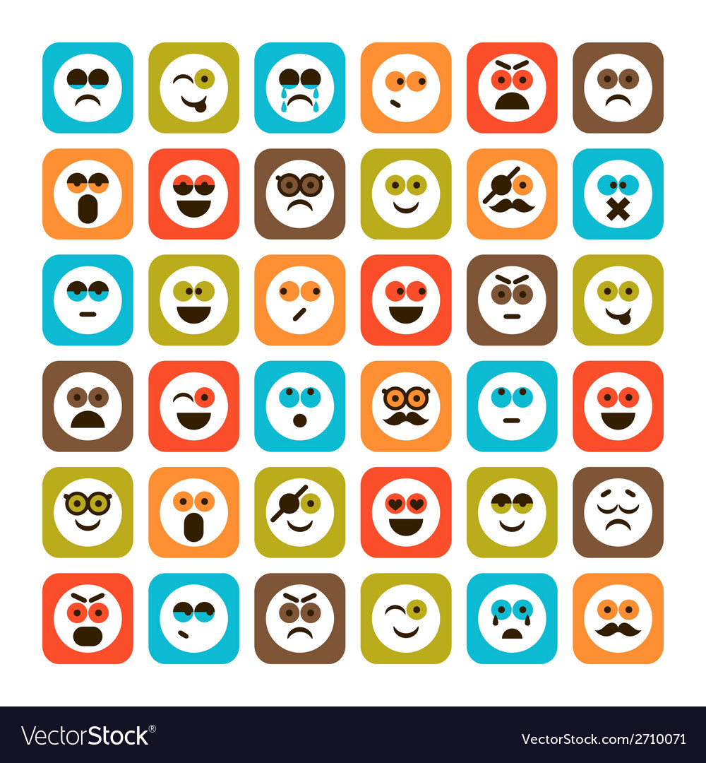 Set of emotional icons vector | Price: 1 Credit (USD $1)