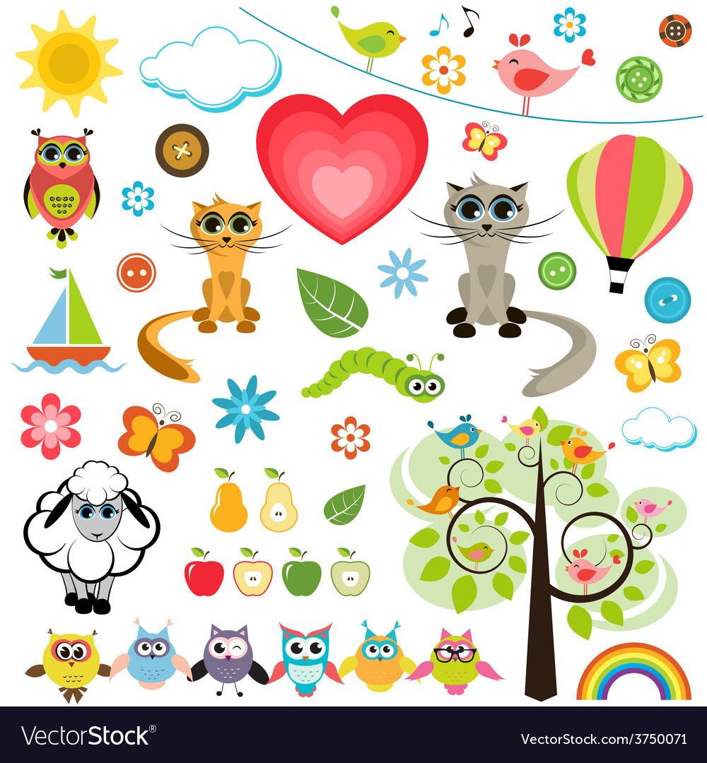 Set of spring elements vector | Price: 1 Credit (USD $1)