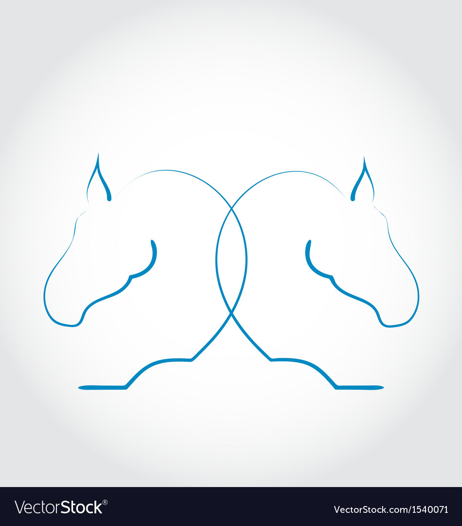Sign of two horses stylized hand drawn vector | Price: 1 Credit (USD $1)