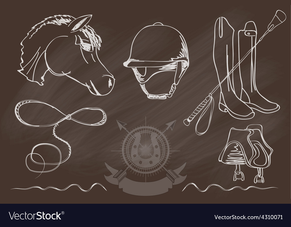 Silhouettes of horses and equipment player vector | Price: 1 Credit (USD $1)