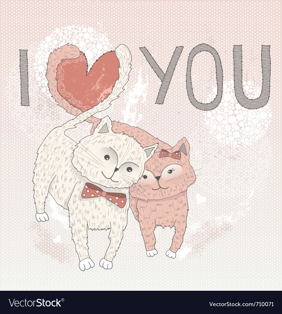 Valentines day card cute cats in love vector | Price: 1 Credit (USD $1)
