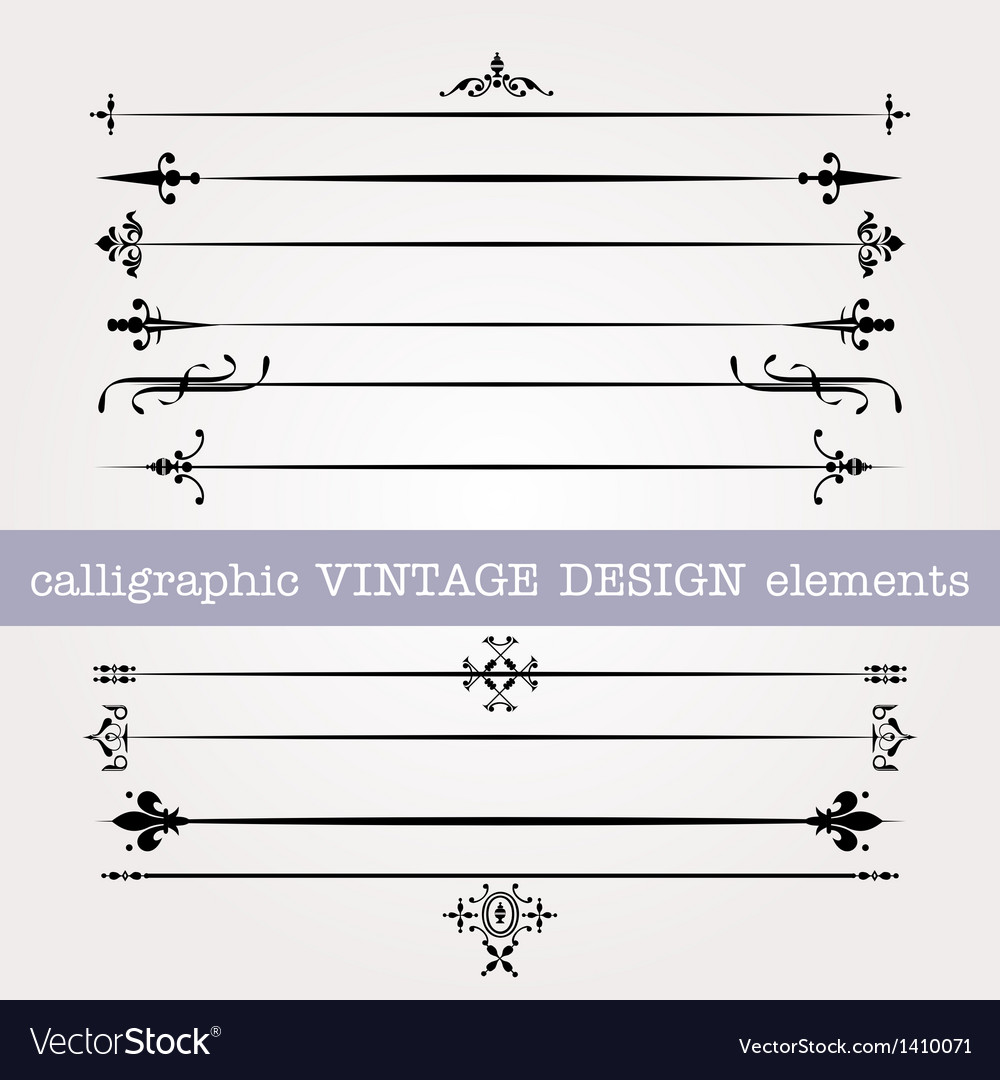 Vintage calligraphic elements vector | Price: 1 Credit (USD $1)