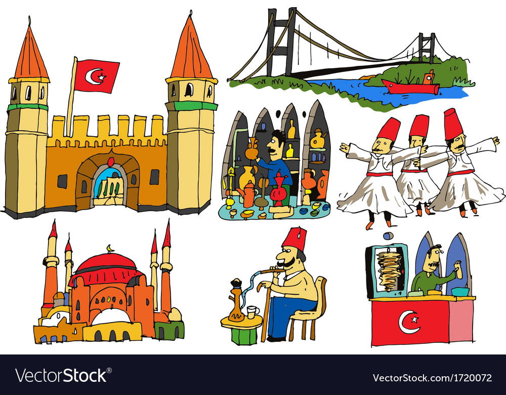 7 authentic caricatures of turkish scenes vector | Price: 1 Credit (USD $1)