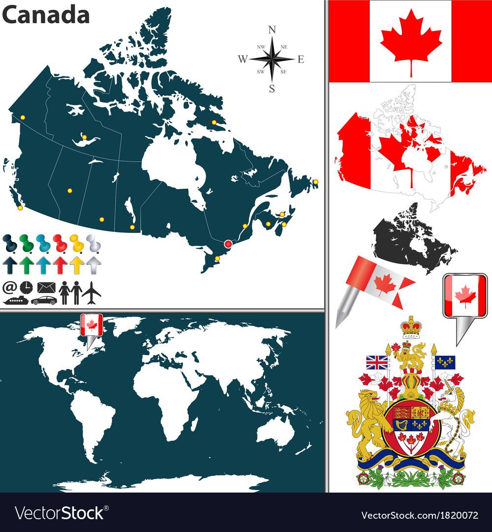 Canada map world vector
