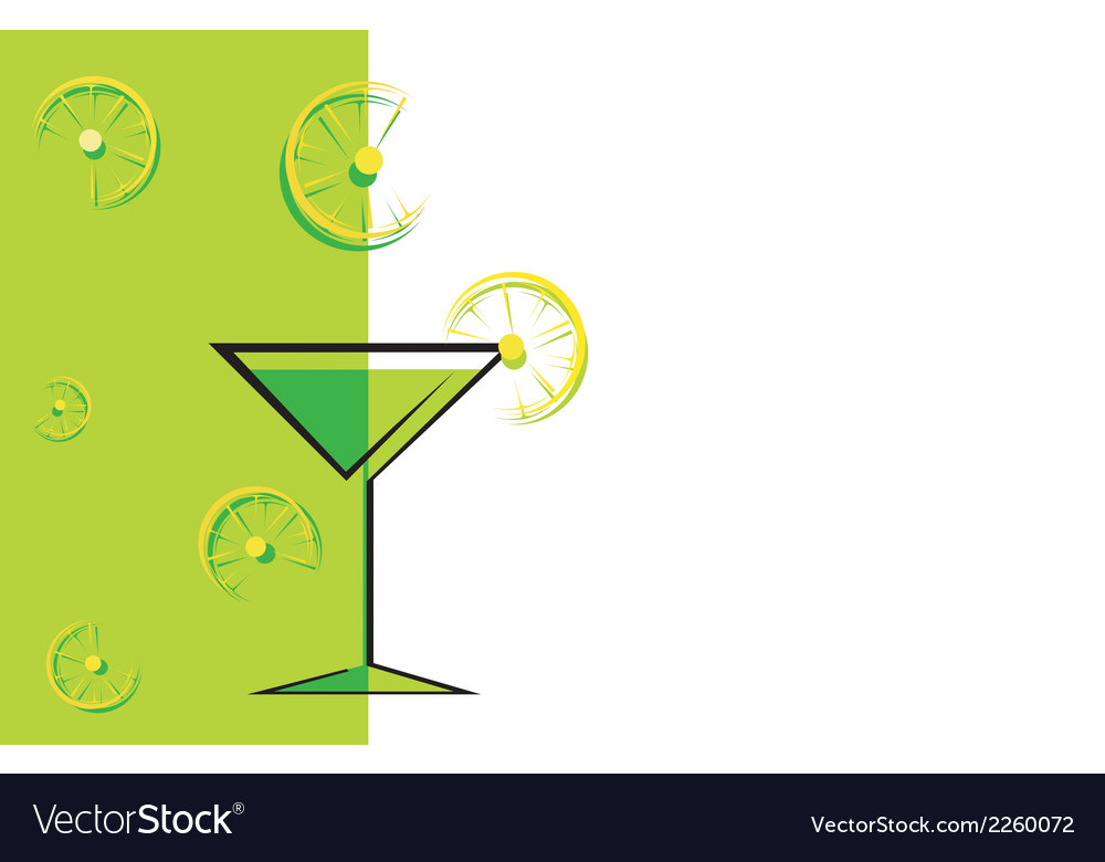 Cocktail green card with lemon vector | Price: 1 Credit (USD $1)