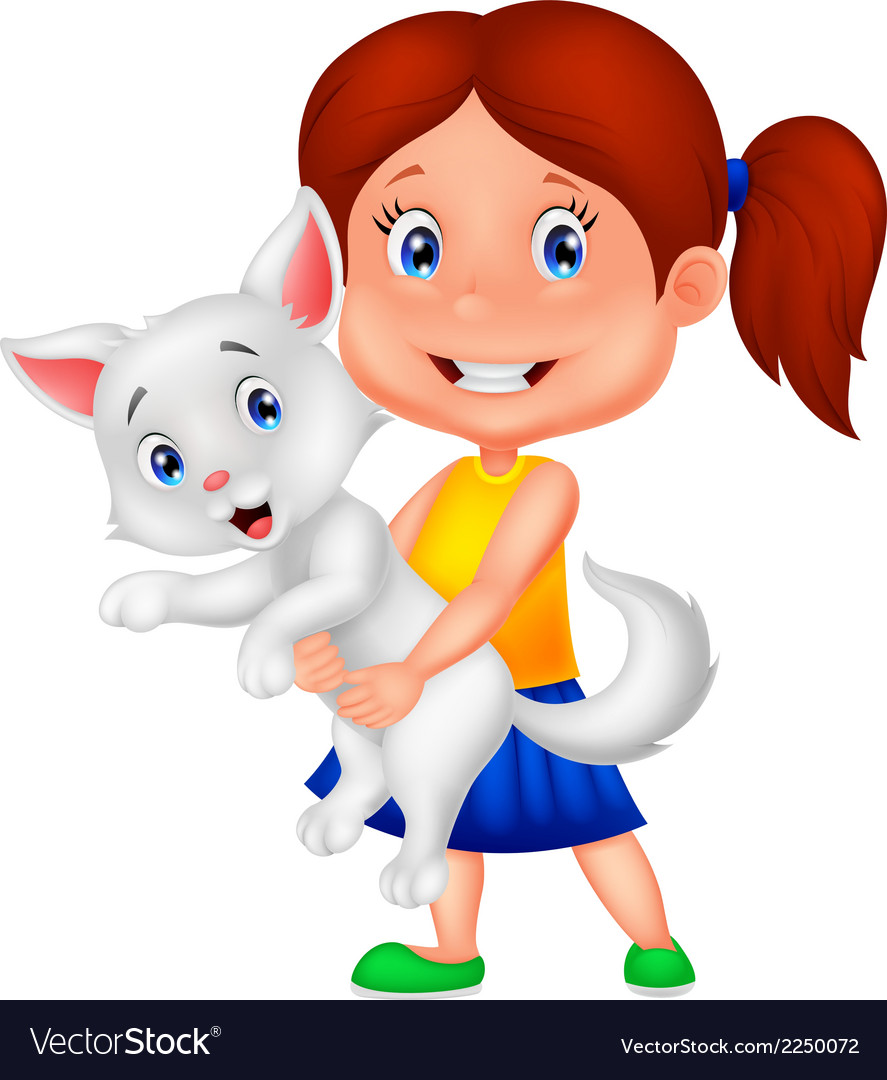Happy cartoon little girl hugging her pet vector | Price: 1 Credit (USD $1)