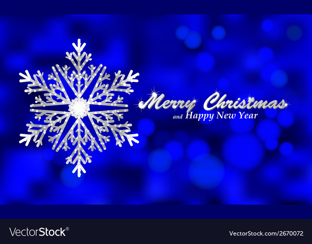 Merry christmas blue background with silver vector | Price: 1 Credit (USD $1)