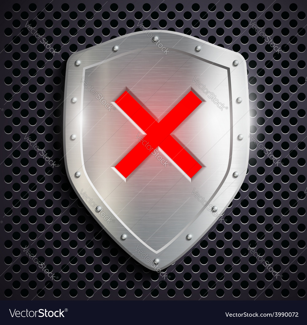 Metal shield with the sign ban vector | Price: 1 Credit (USD $1)