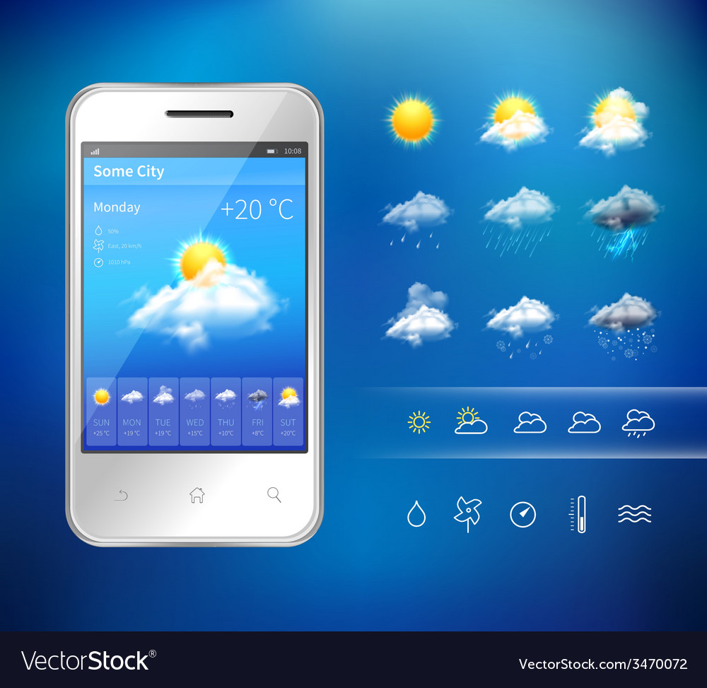 Mobile weather application vector | Price: 1 Credit (USD $1)