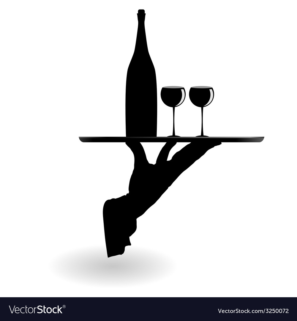 Waiter carrying wine glasses on the tray black vector | Price: 1 Credit (USD $1)