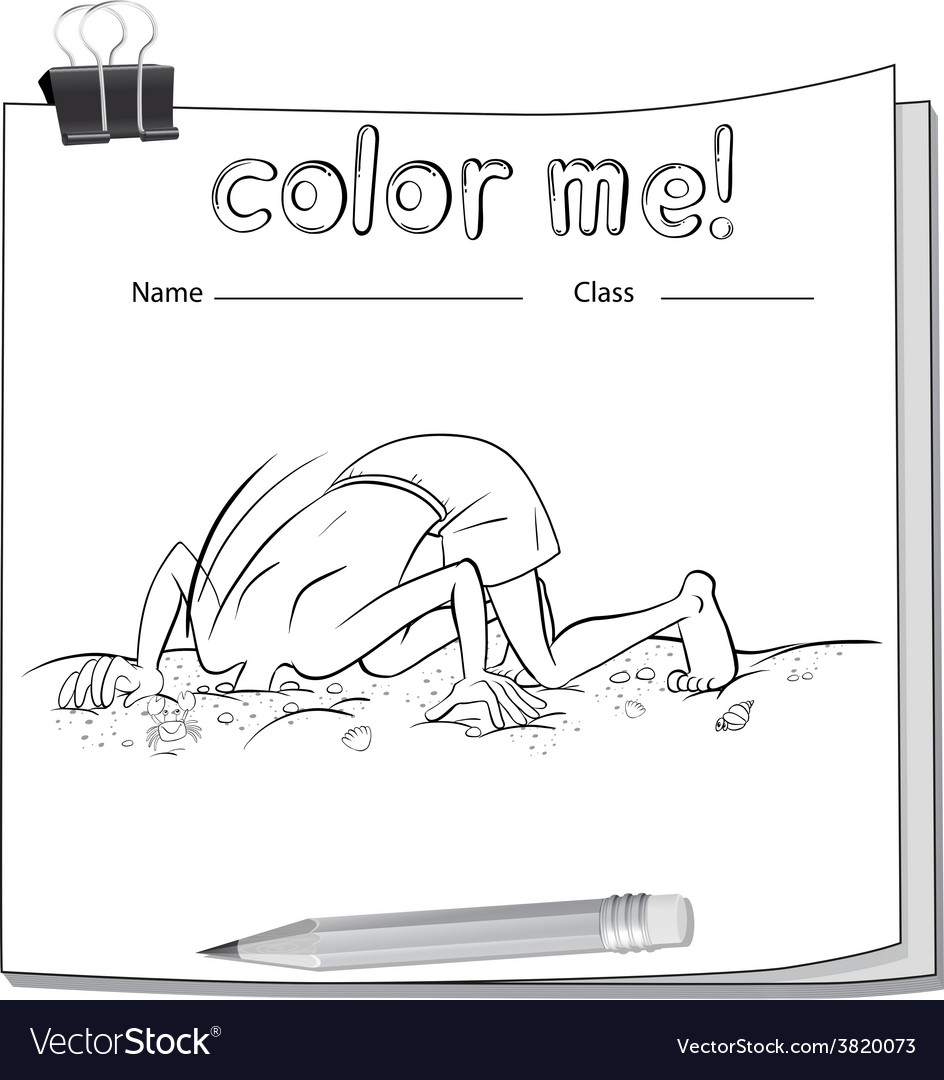A color me worksheet with a boy and a pencil vector   Price: 1 Credit (USD $1)
