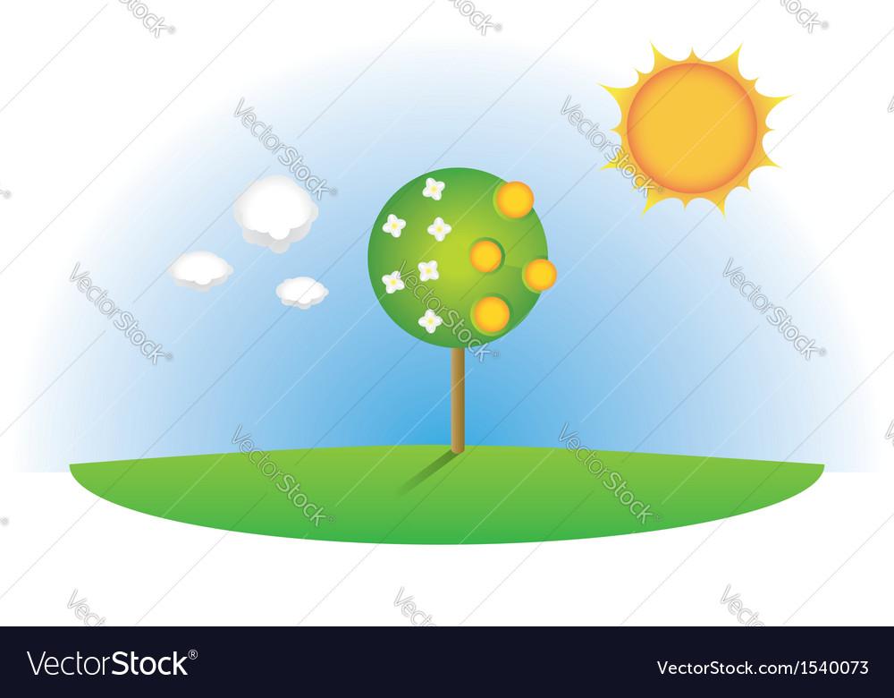 Abstract orange tree vector | Price: 1 Credit (USD $1)