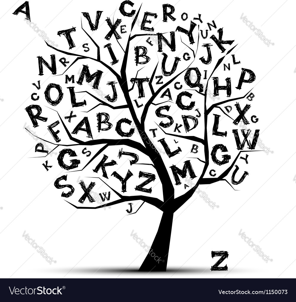 Art tree with letters of alphabet for your design vector | Price: 1 Credit (USD $1)