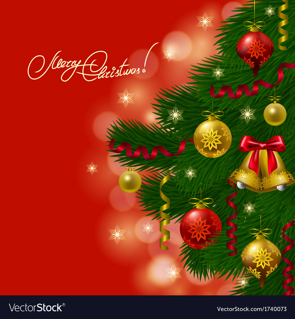 Background with baubles christmas tree vector | Price: 1 Credit (USD $1)