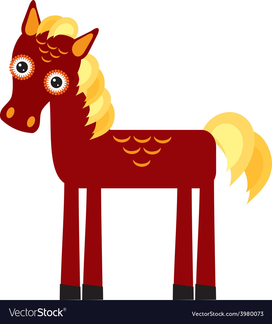 Brown horse with yellow mane on a white background vector | Price: 1 Credit (USD $1)