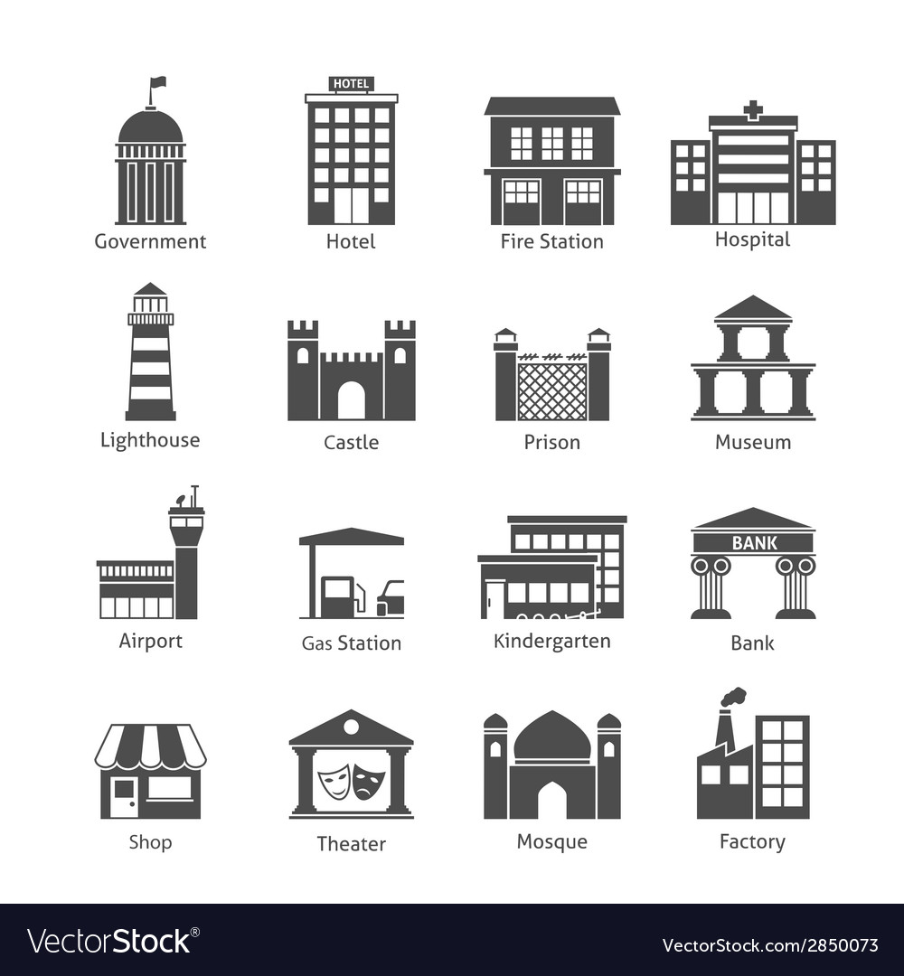 Government buildings icons vector | Price: 1 Credit (USD $1)