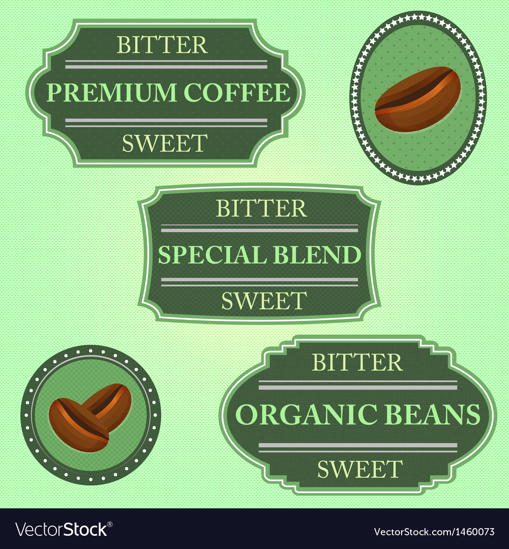 Set of bitter sweet coffee on green badge vector | Price: 1 Credit (USD $1)