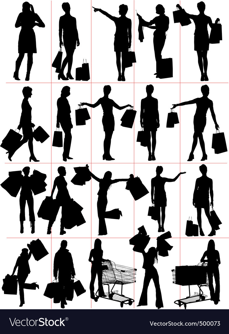 Shopping woman vector | Price: 1 Credit (USD $1)