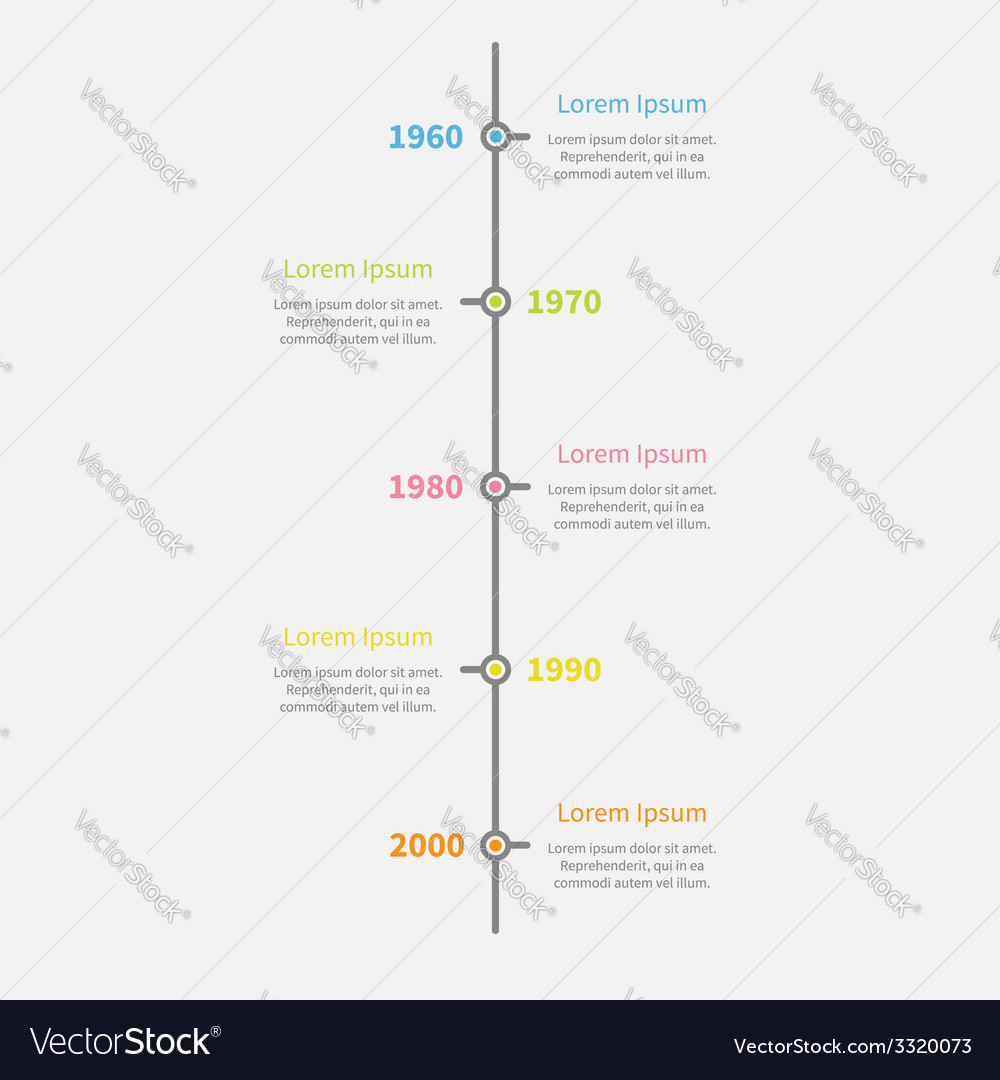 Timeline vertical infographic with color text vector | Price: 1 Credit (USD $1)