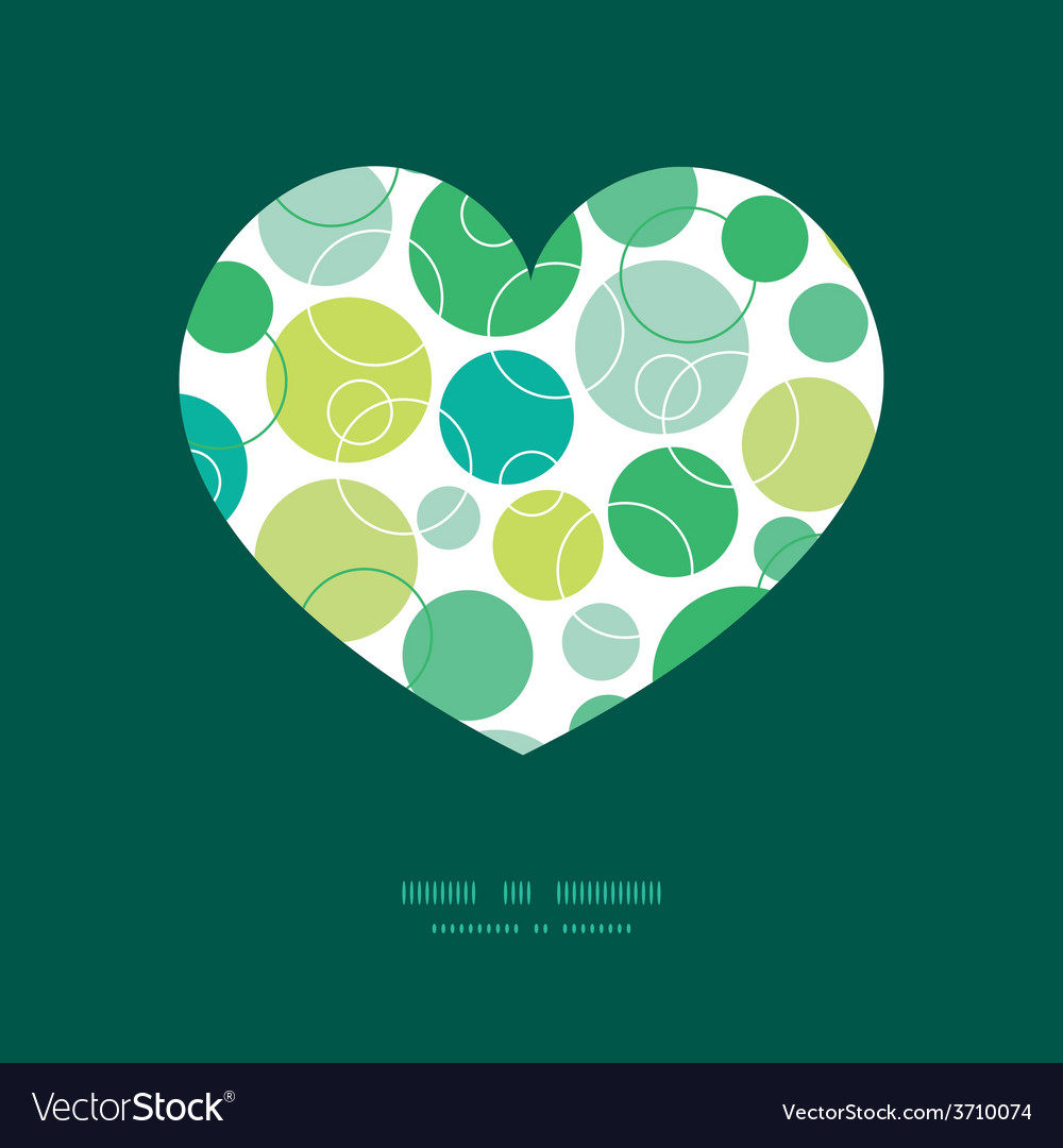 Abstract green circles heart silhouette vector | Price: 1 Credit (USD $1)